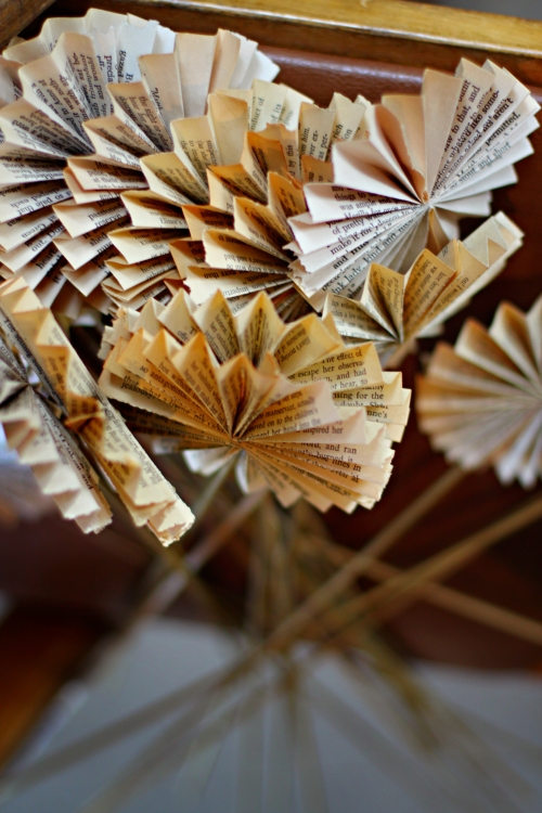 pinwheels from pages of Pride and Prejudice for every vase