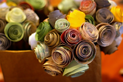 many paper bouquets