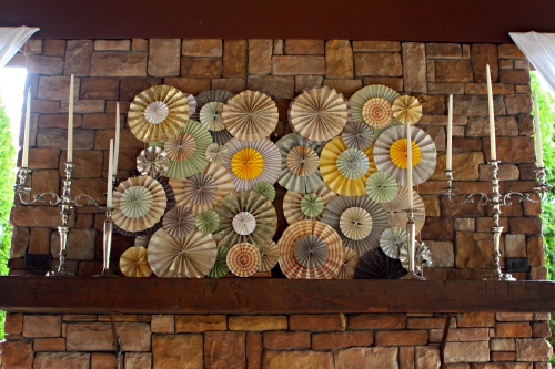 pinwheel display on the mantel